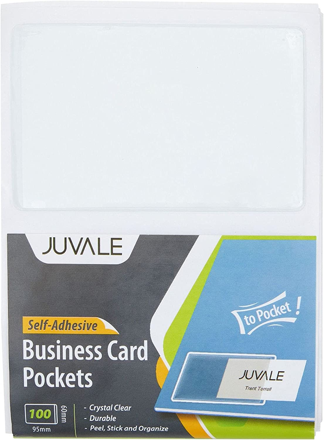 Juvale Clear Adhesive Pockets Holder for Label & Business Card 20.20 x 20.20  in, 20 Pack