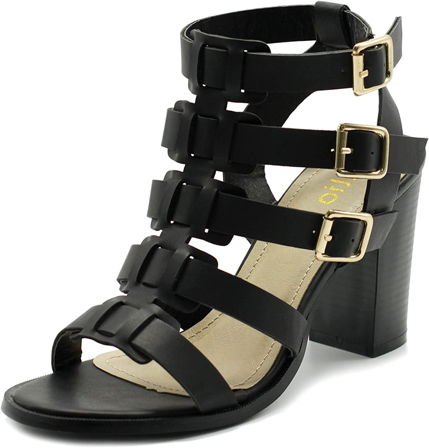 Ollio Womens shoes Gladiator Ankle High Bootie Sandal