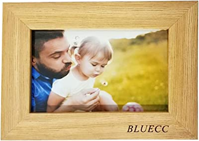 BLUECC Solid Wood Photo Frame with High Definition Glass for Table Top Display and Wall mounting