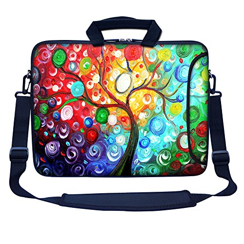 Meffort Inc 15 15.6 inch Neoprene Laptop Bag Sleeve with Extra Side Pocket, Soft Carrying Handle & Removable Shoulder Strap for 14  to 15.6  Size Notebook Computer - Colorful Tree