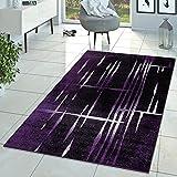 Moderna alfombra de pelo corto con diseño de Matrix en lila, negro y crema, polipropileno, 160 x 220 cm