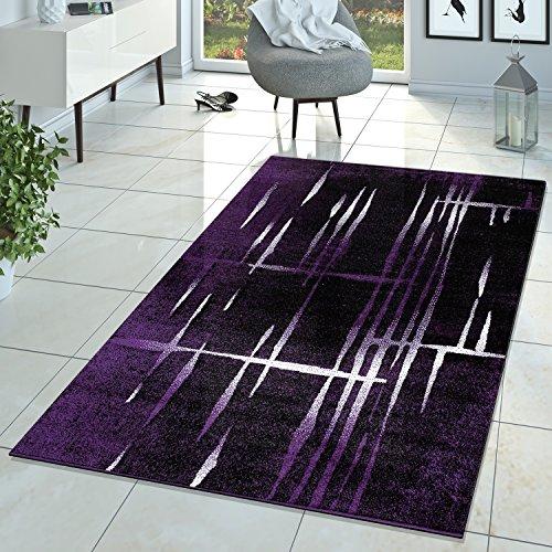 Moderna alfombra de pelo corto con diseño de Matrix en lila, negro y crema, polipropileno, 60 x 100 cm