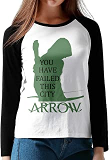 Womens Green Arrow Hero O-Neck Long Sleeve Raglan Tee Shirt