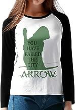 LOVEGIFTTO LADY Womens Green Arrow Hero O-Neck Long Sleeve Raglan Tee Shirt
