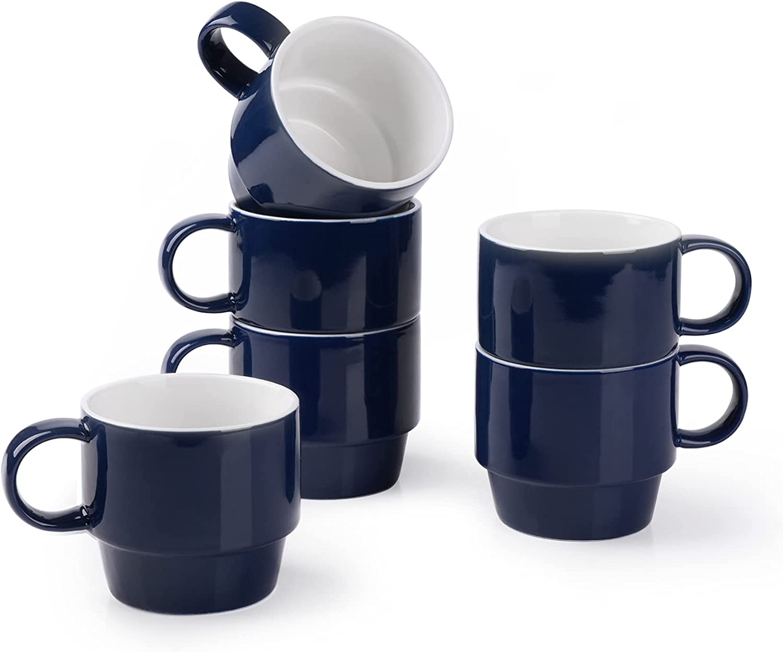 service Mugaholics Stackable Coffee Mugs Set of oz 9 Cappucc Free Shipping New Ceramic 6 -