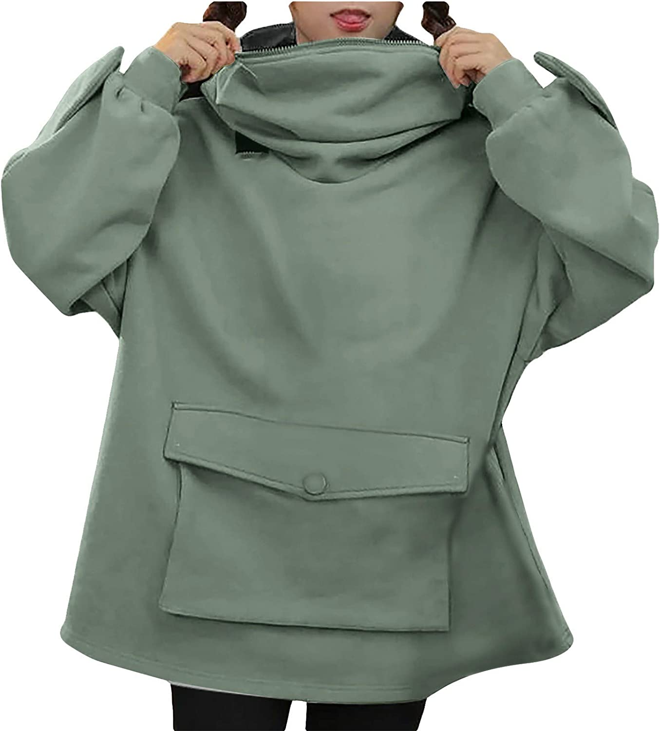 Womens Girls Frog Hoodie Zipper Mouth Hooded Pullover Sweatshirt with Large Pocket