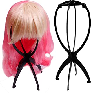 Short Wig Stands for Wigs, DELFINO Magic Wig Stands for All Wigs, Portable Collapsible Wig Dryer, Thick and Durable Wig Di...