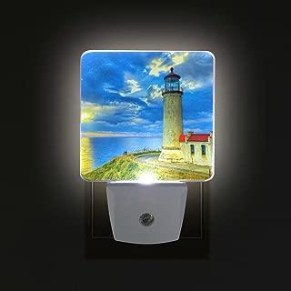 ALIREA Seashore Lighthouse Plug in LED Night Light Auto Sensor Dusk to Dawn Decorative Night for Bedroom, Bathroom, Kitchen, Hallway, Stairs,Hallway,Baby's Room, Energy Saving