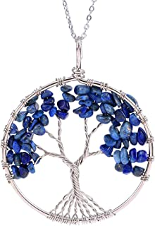EnjoIt Tree of Life 7 Chakras Necklace Handmade Gemstone Amethyst Crystal Pendant Jewelry Gifts