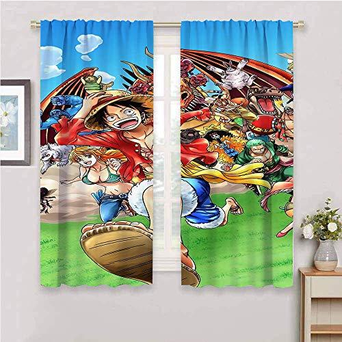 Cortinas opacas de una pieza, diseño de anime japonés, para oscurecer la habitación, aislamiento térmico para paneles de ventana para dormitorio de 132 x 163 cm
