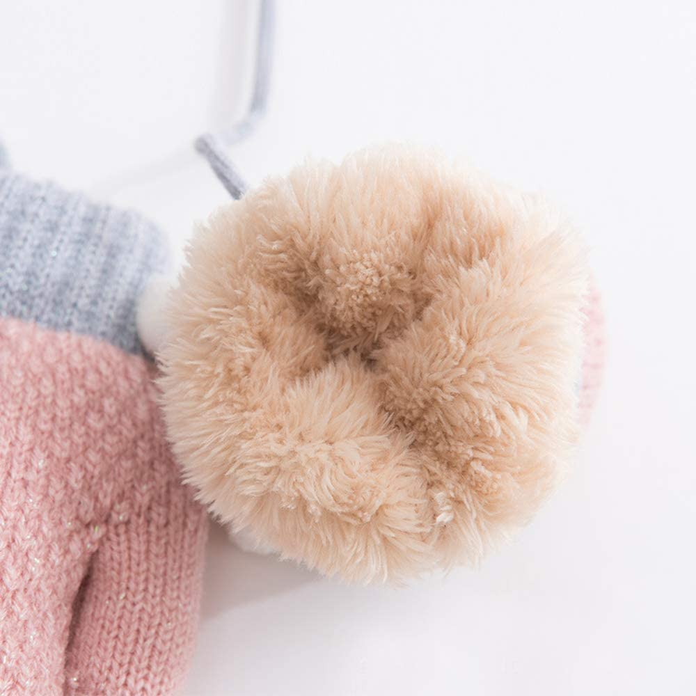 Xinqiao Kids Winter Warm Knit Mitten Cold Weather Glove for Boys Girls 3-5 Years