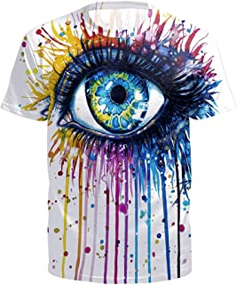 Big Eye Colorful fashionFor Womens Mens Male Females Spring and Summer hot New 3D Digital Print T-Shirt (Color : White, Size : S)
