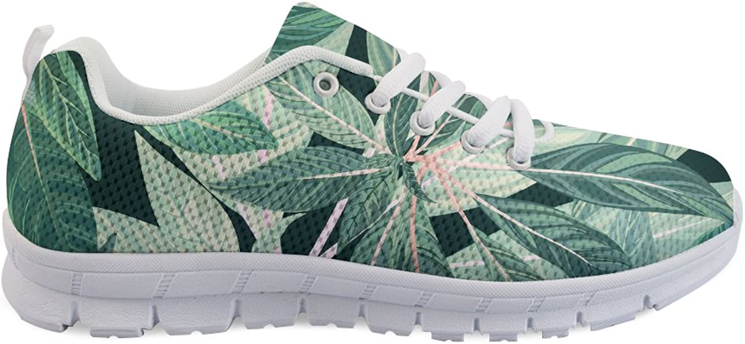 FOR U DESIGNS Light Weight Breathable Sneakers for Women Men Athletic Sports Running shoes Green Leaves Pattern