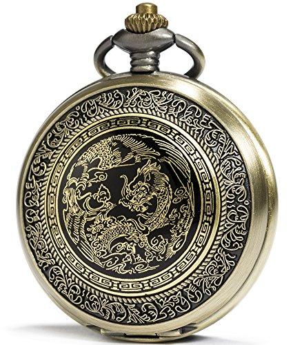 SEWOR Bronce Esmalte Craft patrón Japón Movimiento de Cuarzo Reloj de Bolsillo con Cadena Doble (Metal y Piel) (Dragón y Phoenix)