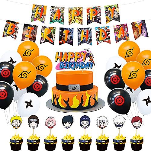 Hilloly Birthday Decorations Set, Decoracion de Fiesta Cumpleaños para, 36 Pcs Naruto Globos De Anime, Japonés Feliz Cumpleaños Banner Globo Tarjeta De Pastel Fiesta Combinada Para Niños