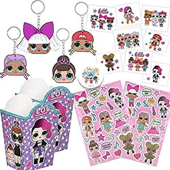LOL Surprise Party Favor Pack for 12 with 12 LOL Keychains 12 Sitcker Sheets 16 Popcorn Container Goodie Boxes 16 Tattoos and Exclusive Pin by Another Dream