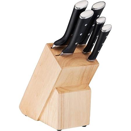 Tefal Ice Force Bloc en Blois 5 Fentes + 5 Couteaux, Couteau à Pain 20cm, Couteau Chef 20cm, Couteau Santoku 18cm, Couteau d'Office 11cm, Couteau à Découper 9cm K232S574