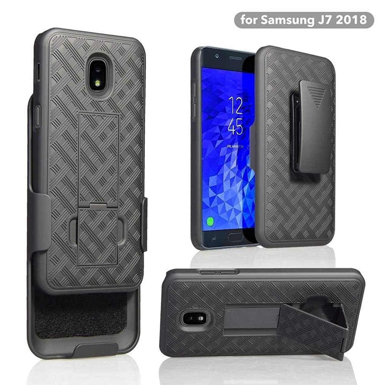 Microseven Compatible with Samsung Galaxy J7 V 2nd Gen, J7 2018, J7 Star, J7 Refine, J7 Aero, J7 Aura, J7 Eon, J7 Pro SM-J730GM/DS, J7 Top, J7 Crown Case,Pu Leather Wallet Case (Wave Holster Combo)