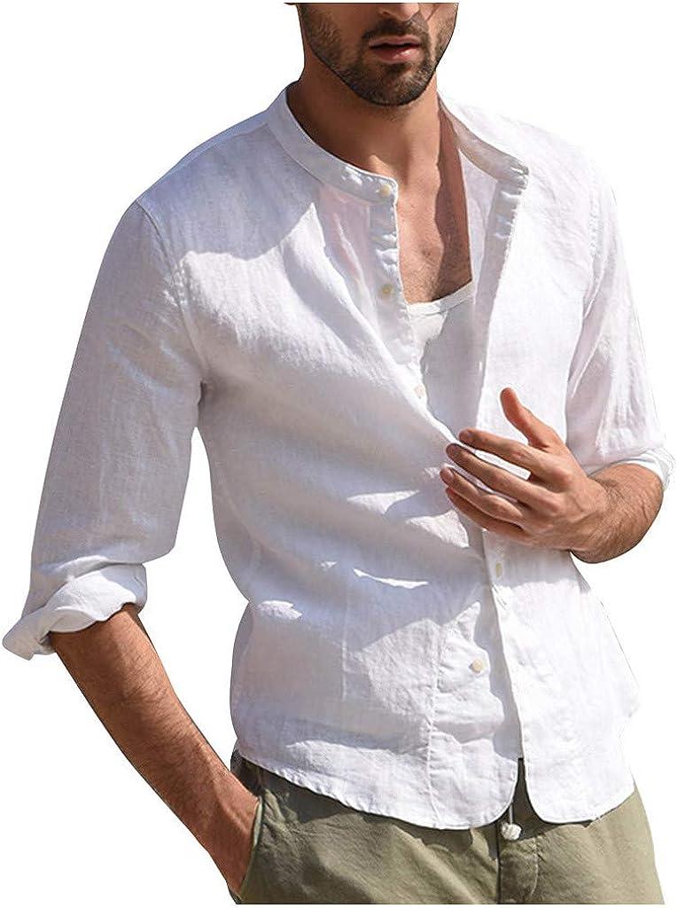 MODOQO Men's Fashion Button Down Shirt Long Sleeve Solid Linen Dress Shirts