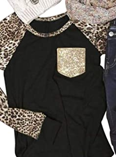 Leopard Print Tops for Women Long Sleeve LeopardPrinted Casual BaseballT-Shirt Blouse with Bling Pocket