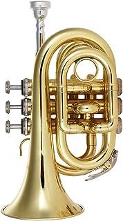 ammoon Mini Trompeta de Bolsillo Latón Plano bb Instrumento