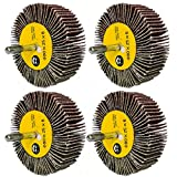 M-jump 4 Pcs 3 x 1 x 1/4 inch Flap Wheels Set –1 pcs of Each 40 60 80 and 120 Grits Aluminum Oxide for Remove Rust and Weld Burr – 1/4 Shank Fits All Drills