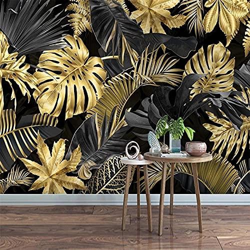 Papel Tapiz Mural De Fotos Moderno Minimalista Abstracto Dorado Hoja De Plátano Pintura De Pared Dormitorio Sala De Estar Decoración De Revestimiento De Paredes