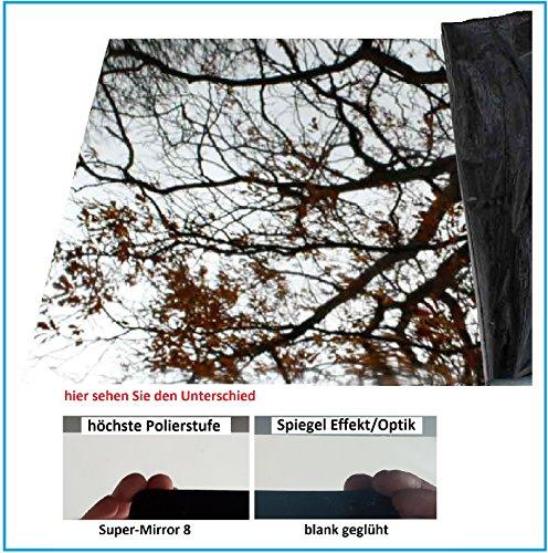 Edelstahl Super-Spiegelpoliert 0,8mm stark, einseitig mit Schutzfolie rostbeständiger, bruchsicherer Metallspiegel (2000mm x 1250mm)