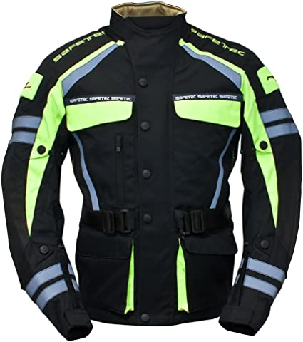 Roleff Racewear 9535 Safetec Motorradjacke Textil Größe Xl Schwarz Neon Gelb Auto