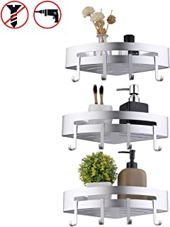 KES Bathroom Shelf Triangle Corner Shower Caddy 3 Tiers with 8 Hooks Aluminum Storage Baskets Dril Free/Wall Mount with Screws Anodized Silver,BSC402DG-P3