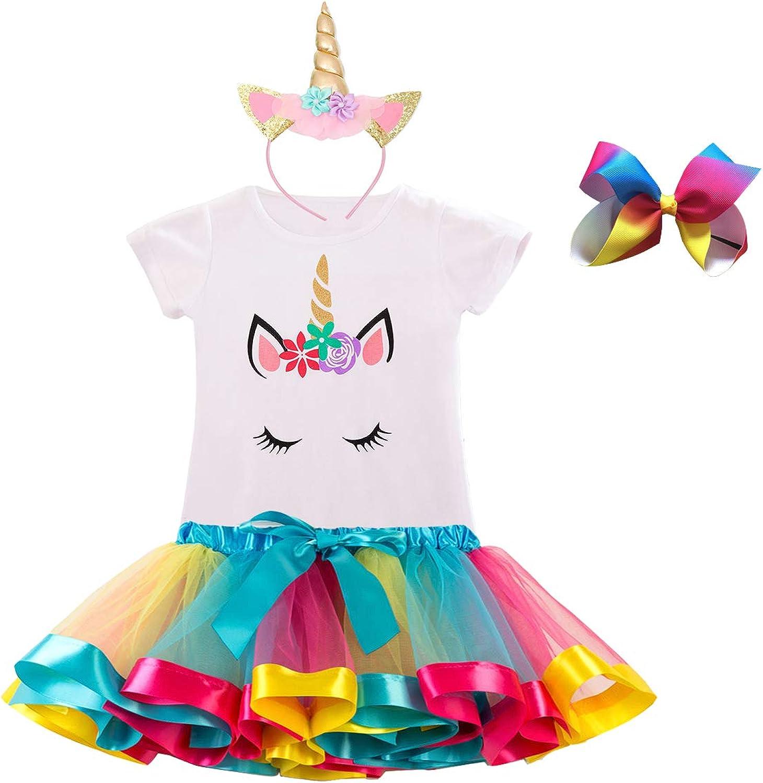 T-Shirt Manica Corta Casual Estiva T-Shirt per la Festa di Compleanno Dellunicorno per Bambini TTYAOVO T-Shirt in Cotone per Bambini