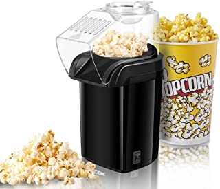 Popcorn Maker, Fast Hot Air Popcorn Popper with Measuring Cup and Removable Lid, Wide Mouth Design, Oil-Free, Black