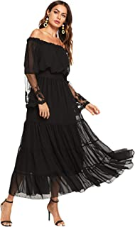 Milumia Women's Off Shoulder Lace Contrast Ruffle Mesh Sleeve Shirred High Waist Maxi Dress