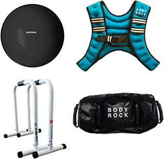 Workout & Exercise Equipment for Home Gym: BodyRock Core Bundle with Weighted Vest, Challenger Bar Dip Station, Half Ball Balance / Stability Trainer & Fitness Sandbag - Abs & Calisthenics Training