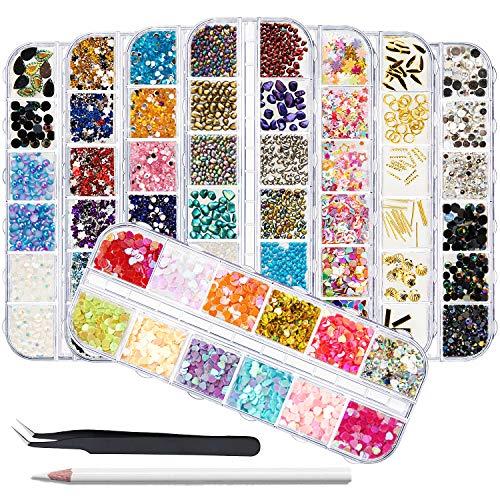 EBANKU Juego de 8 cajas de perlas de cristal para decoración de uñas, piedras preciosas de media perla, diamantes de imitación de ojo de caballo, 1 pinza y 1 bolígrafo de recogida, accesorios para decoración de uñas