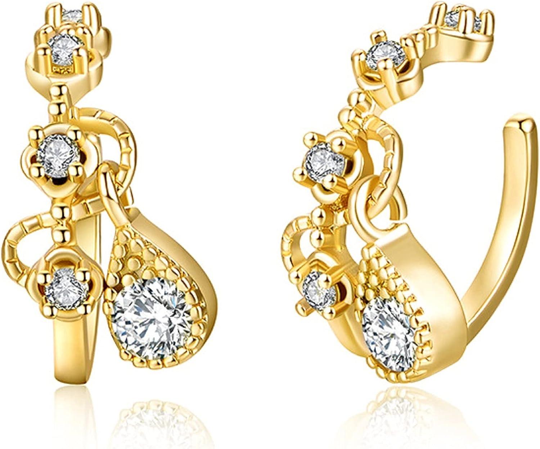 Teardrop Clip On Earrings Gold Cartilage Cuff Wrap Small Cubic Zirconia Pendant Jewelry Earrings for Women