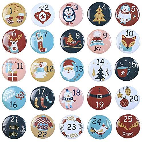 Ambolio Zahlen Anstecker,Adventskalender Zahlen,Nummer Buttons,25 Adventskalender Buttons,Weihnachtskalender Selber Basteln,Adventskalender Zahlen Aufbügeln,Adventskalender Zahlen Button Kinder. (C)