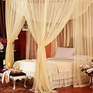 Lighting-Time 4 Corners Post Bed Canopy Twin Full Queen King Mosquito Net (King, Yellow)