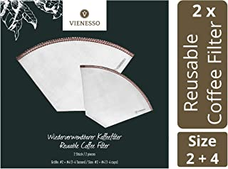 VIENESSO Reusable Coffee Filters – 2 Stainless-Steel Mesh Filters Bundle – Sustainable Paperless Cone Filters for Coffee M...