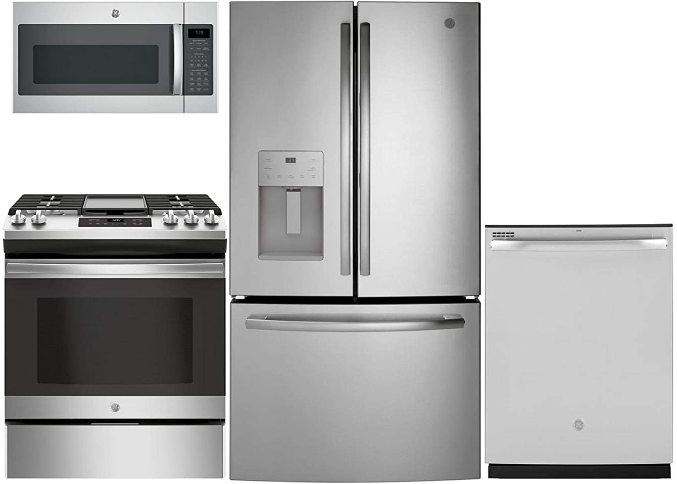 GE 4 Piece Kitchen Package with GFE26JSMSS 36