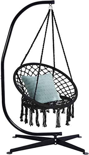 lowest Giantex Hammock Swing Chair lowest with Stand Set, Cotton online Rope Handwoven Hanging Chair with Solid Steel Heavy Duty C Stand, Outdoor Indoor Hanging Hammock Air Porch Swing Chair (Black) online