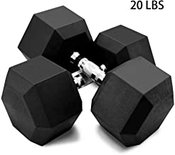 5-50lbs Dumbbells - Hex Rubber Dumbbell With Metal Handles - Shaped Heads to Prevent Rolling and Injury - Ergonomic Hand Weights for Exercise, Therapy, Building Muscle (Set Of 2 (20lbs), Black)