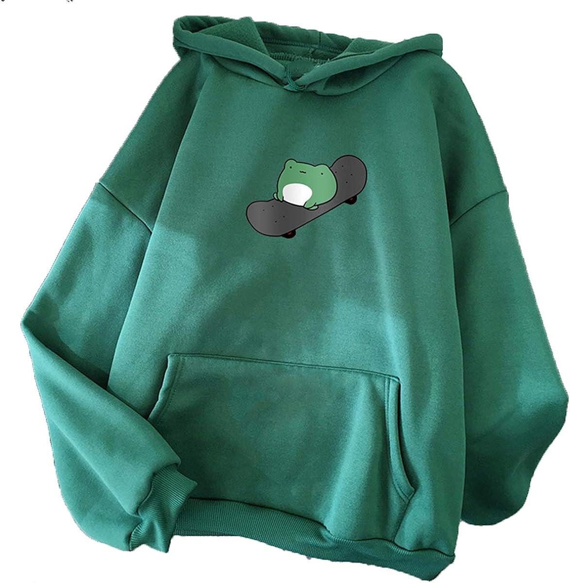 CORIRESHA Women's Pocket Hooded Sweatshirts Cute Frog Casual Long Sleeve Hoodie Pullover Tops