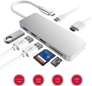 USB Type C ハブ 7in1 USB C ハブ ウルトラスリム USB C ドッキングステーション 4K HDMI出力 PD 充電対応 USB3.0 ハブ SD/Micro SD カードリーダー マイクロ タイプC HDMI 変換 アダプタ MacBook MacBook Pro/ChromeBook対応 シルバー (シルバー)