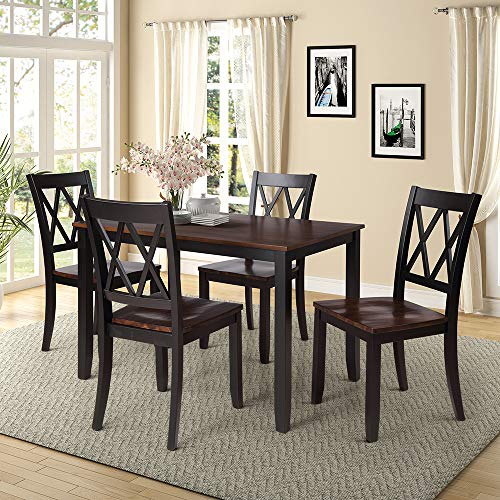 5 Piece Kitchen Table Set, Rockjame Modern Dining Table Set with 4 Chairs and Wooden Frame Table, Perfect for Dining Room Kitchen Furniture (Black+Cherry) Georgia