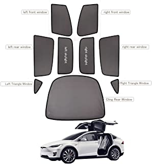 Premis Magnet Mesh Side Car Window Sun Shades Child Kid Glare UV Rays Protection 9 PCS for Tesla Model X