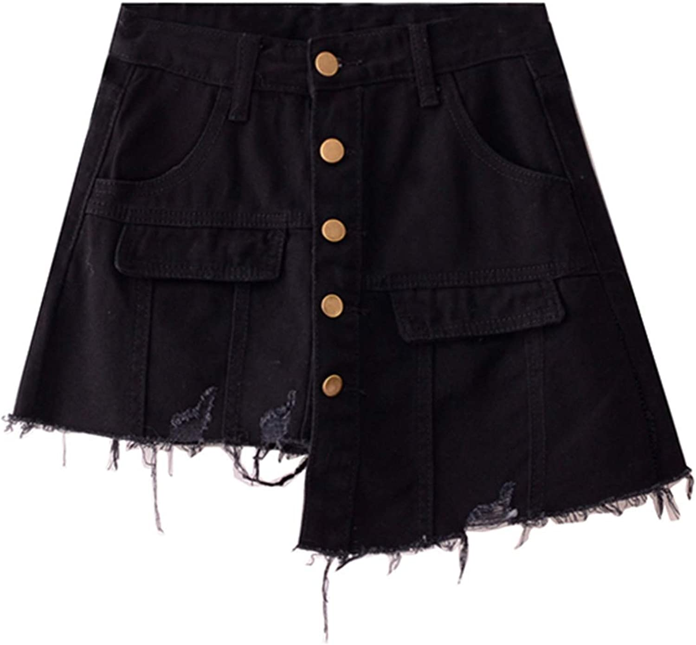 Casual Denim Skirt, Torn High Waist Aline Skirt, Retro Large Pocket Button