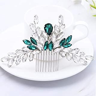 Asooll Baroque Bride Wedding Hair Combs Silver Green Crystals Bridal Hair Piece Accessories for Women and Girls