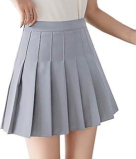Huyghdfb Women Girls High Waist A-Line Pleated Skirt Skater Tennis School Mini Short Skirt with Lining Shorts
