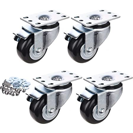 [T-REX CASTER] 3inch Heavy Duty Casters, All Swivel Plate Caster Wheels with Safety Side Locking and Black Polyurethane Load Capacity - 750Lbs Per Caster (Pack of 4) P503S-2B(D/B)
